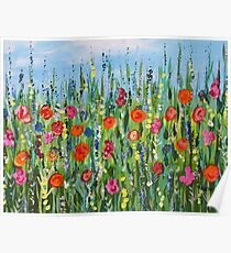 Abstract Flower Field, Floral Home decor, Meadow2 Poster