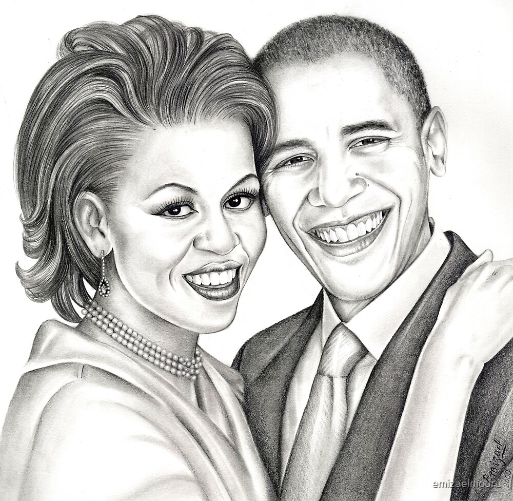 Barack and Michelle Obama by emizaelmoura