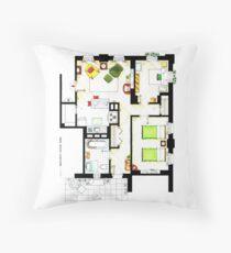 Floorplan of Ernie & Bert's apartment from Sesame St Throw Pillow