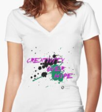 Creativity Over Hype (Purple/Green) Women's Fitted V-Neck T-Shirt