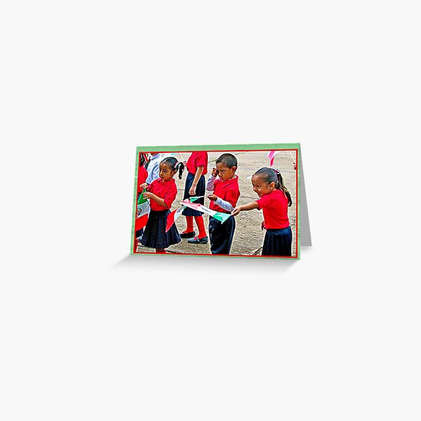 Adorable Kindergarteners in a Parade Greeting Card