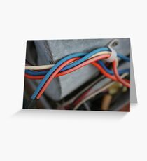 Red wire or Blue wire? Greeting Card