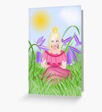 Petite blonde princesse porte du rose Greeting Card