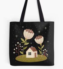 Tiny house among flowers Tote Bag