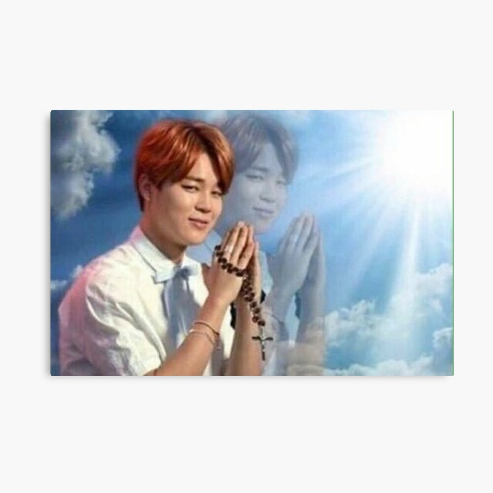 BTS Jimin meme de oración Lámina metálica