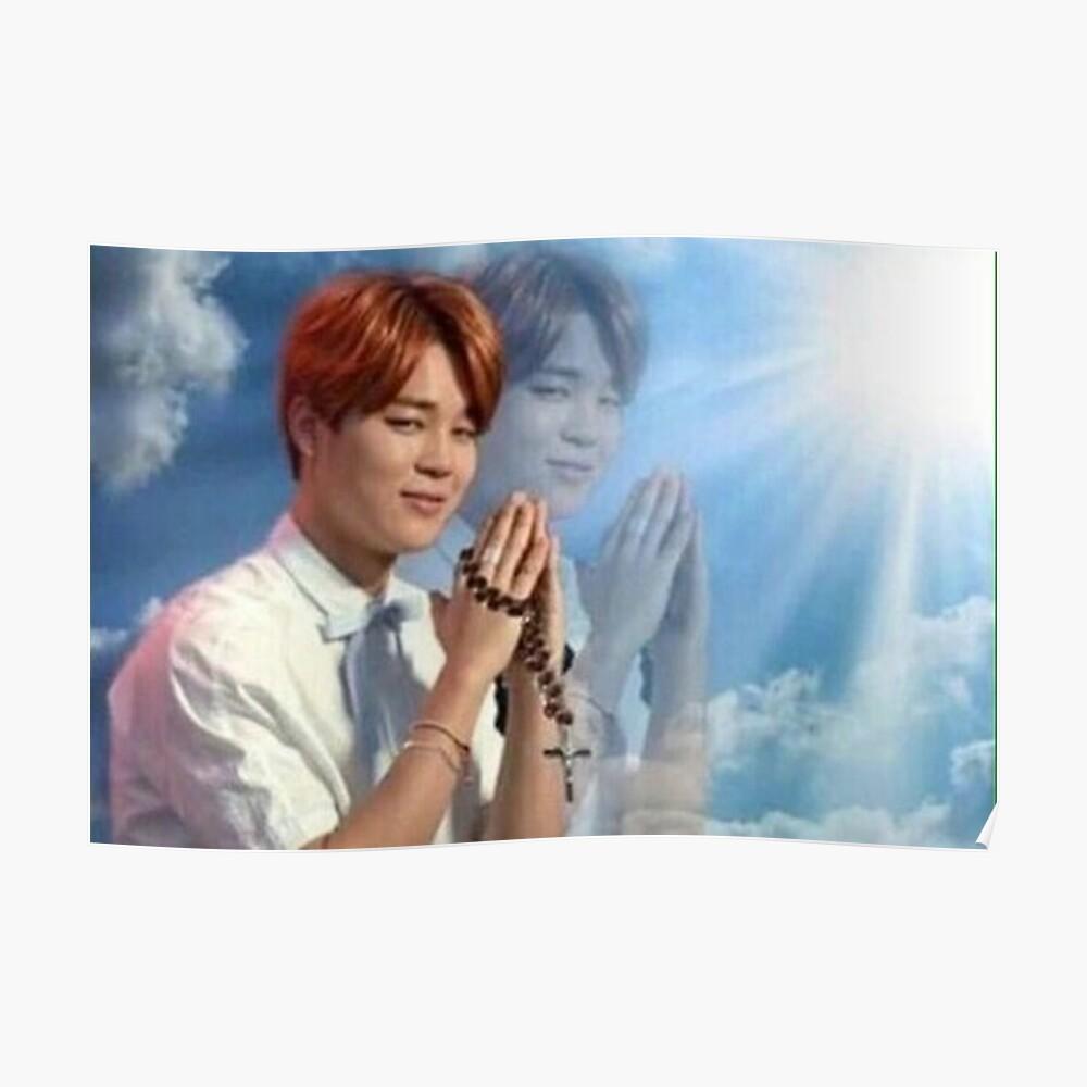 BTS Jimin meme de oración Póster