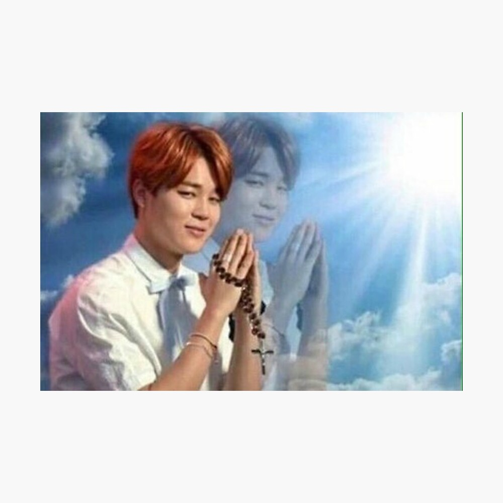 BTS Jimin meme de oración Lámina fotográfica