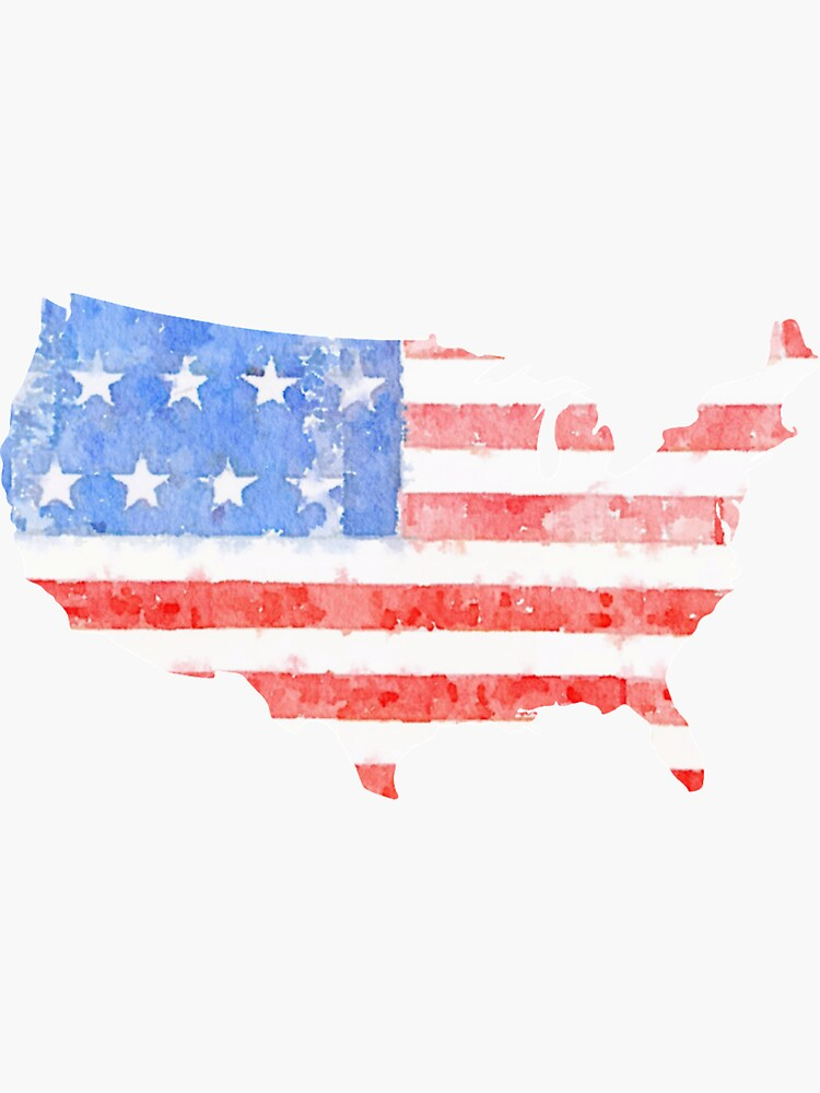Watercolor American Flag on the Shape of the United States by cea010
