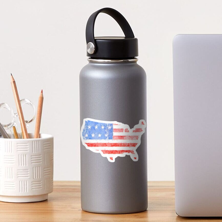 Watercolor American Flag on the Shape of the United States Sticker