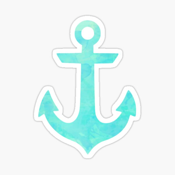 Green and Blue Watercolor Anchor Sticker