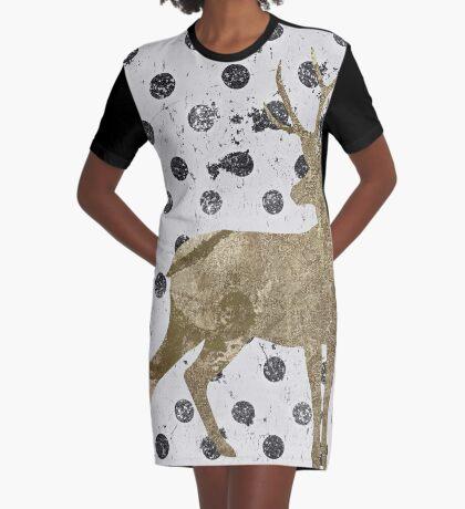 Forest Glam Deer Graphic T-Shirt Dress