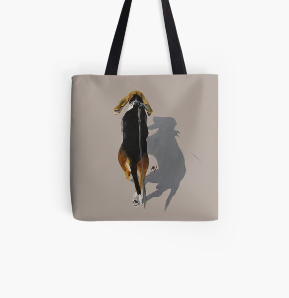 PillowPaws: Basset Shadow All Over Print Tote Bag