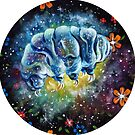 Floral Space Tardigrade- Galaxy Traveling Water Bear by fugitiverabbit