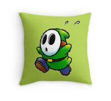 Green Shy Guy Throw Pillow