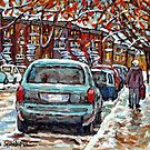 FALL INTO WINTER STREET SCENE PAINTING MAPLE TREES WALKING PLATEAU MONT ROYAL TO VERDUN by Carole  Spandau
