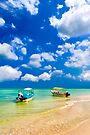 Little Boats On Beautiful Tropical Waters by Mark Tisdale