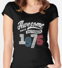 Awesome Since October 1975 Shirt Vintage 43rd Birthday Women's Fitted Scoop T-Shirt