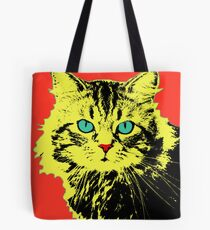 POP ART CAT - YELLOW RED Tote Bag