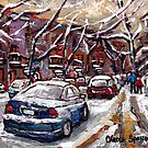 MONTREAL WINTER SCENE ORIGINAL ART QUEBEC SMALL FORMAT PAINTINGS by Carole  Spandau