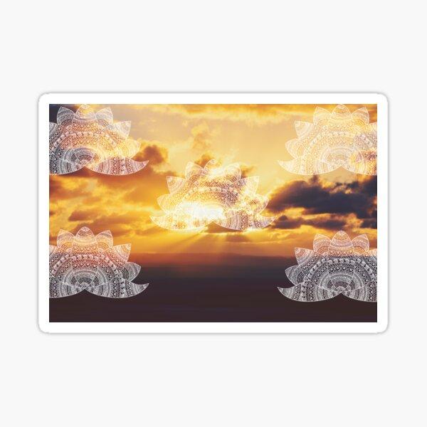 white lotus mandalas on golden orange sunset with sun flare rays Sticker