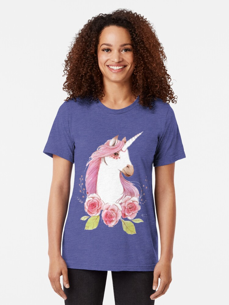 Alternate view of Magical Unicorns in pink Tri-blend T-Shirt