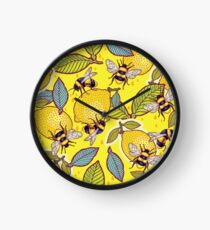 Yellow lemon and bee garden. Clock