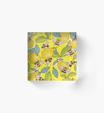 Yellow lemon and bee garden. Acrylic Block