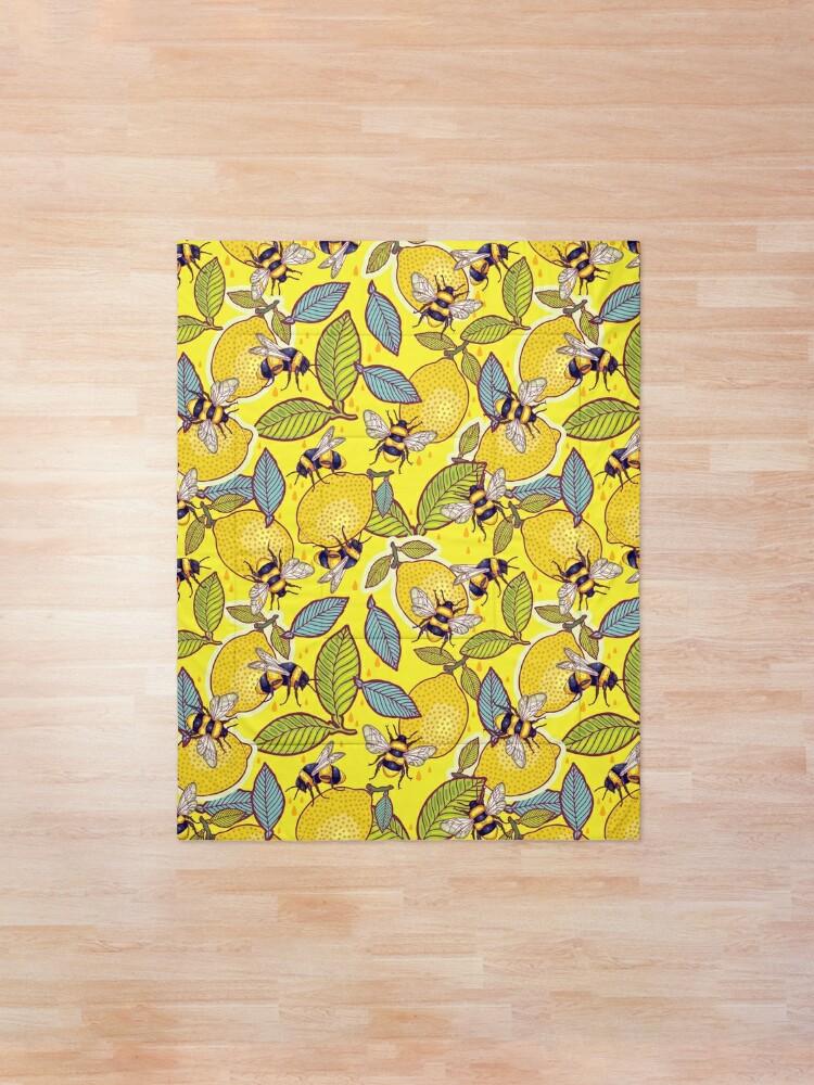 Alternate view of Yellow lemon and bee garden. Comforter
