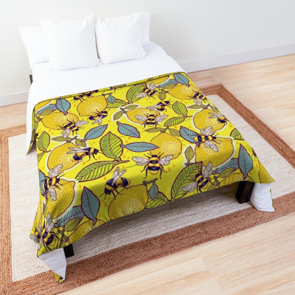 Yellow lemon and bee garden. Comforter