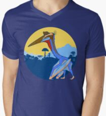 Pterosaur Sunset (Light Version) Men's V-Neck T-Shirt