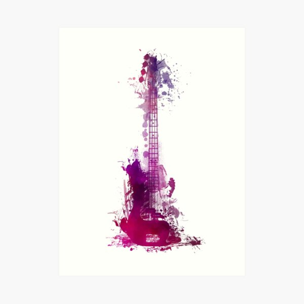 Funky purple guitar Art Print