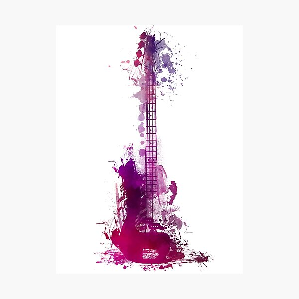 Funky purple guitar Photographic Print