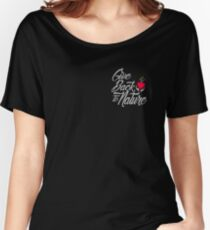 Give Back To Nature Slogan - Black Background - Small Logo Women's Relaxed Fit T-Shirt