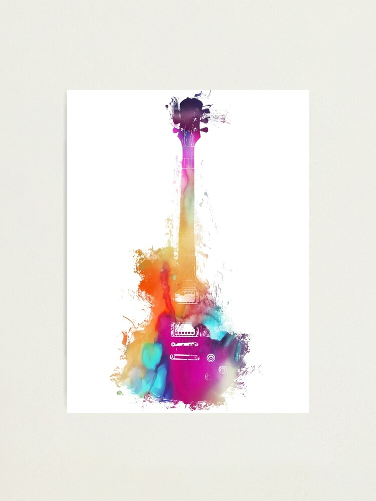 Alternate view of Funky colored guitar Photographic Print