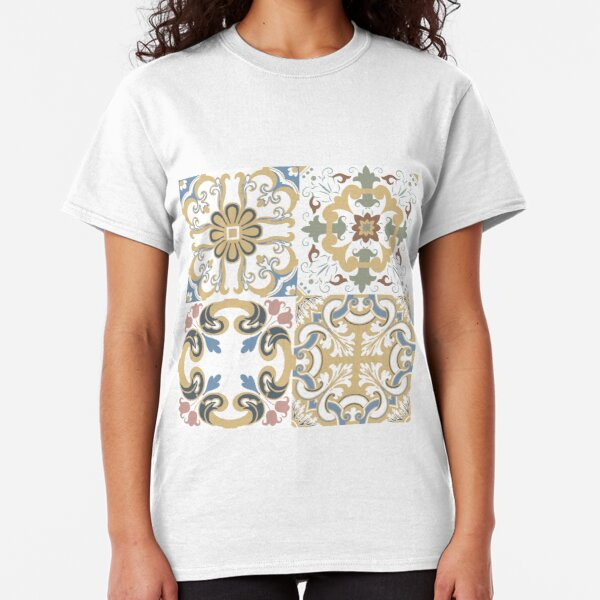 Vector set of Portuguese tiles patterns. Collection of colored patterns for design and fashion. Classic T-Shirt