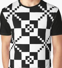 #10 Black And White Minimalist Geometrical Squares Pattern Graphic T-Shirt