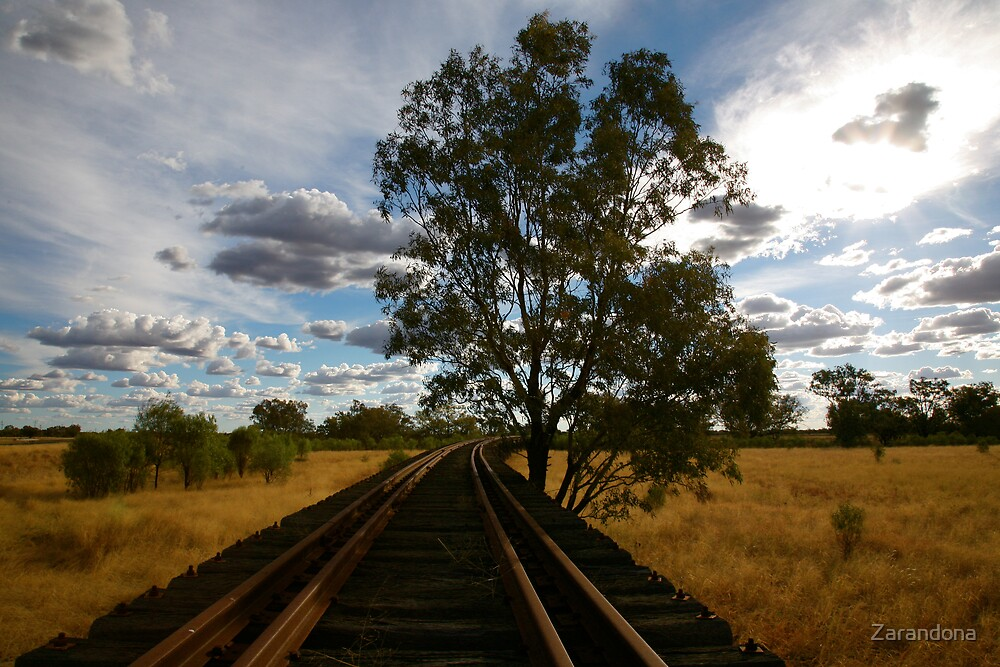 Railroad through the outback by Zarandona