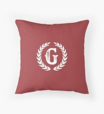 Rustic Red Monogram: Letter G Throw Pillow
