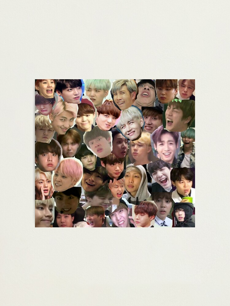 Bts Meme Face Collage Photographic Print By Kpop Channel
