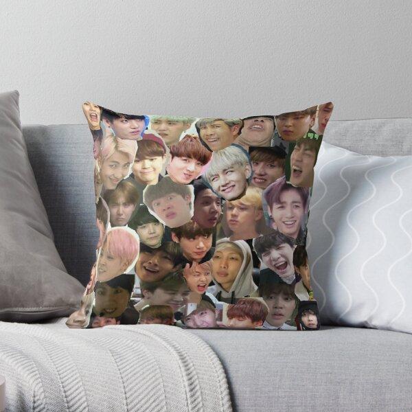 BTS - MEME FACE COLLAGE Throw Pillow