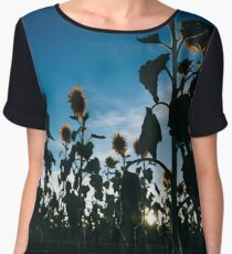 Sunflowers in a field in the afternoon. Chiffon Top