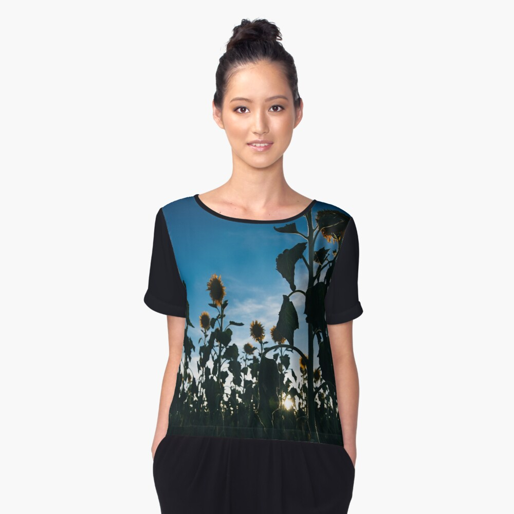 Sunflowers in a field in the afternoon. Women's Chiffon Top Front