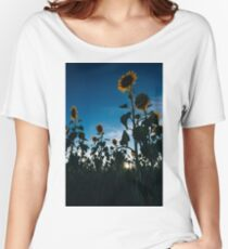Sunflowers in a field in the afternoon. Women's Relaxed Fit T-Shirt