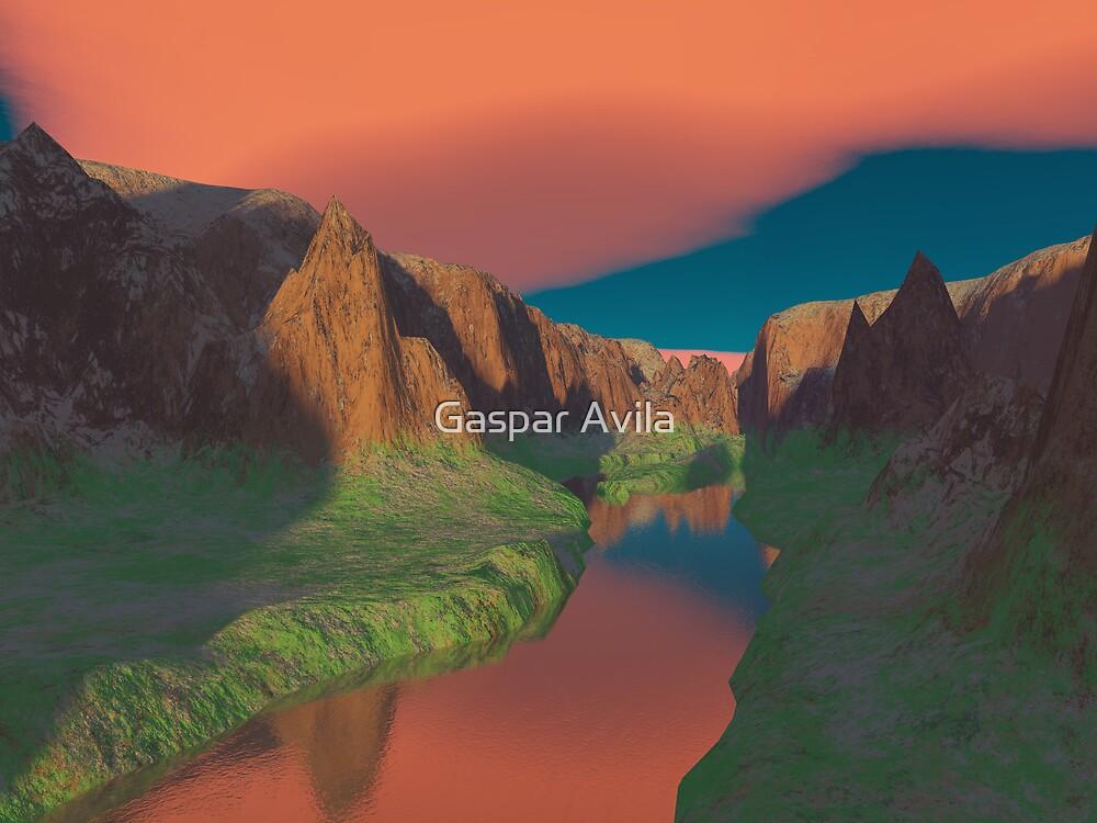 Sunset at the canyon by Gaspar Avila