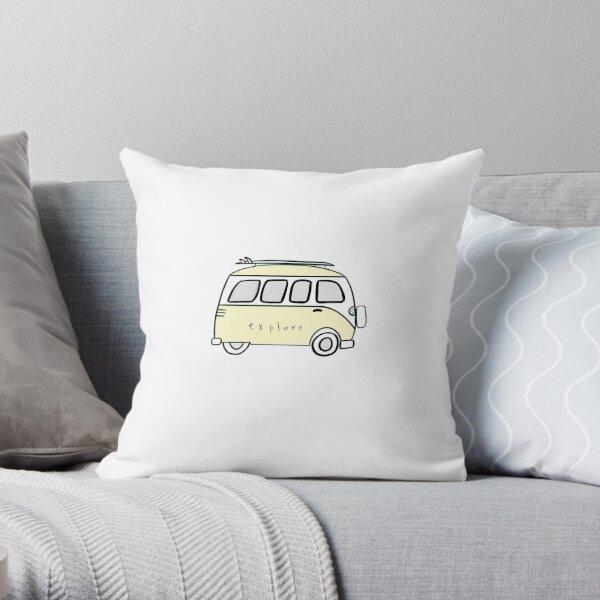 yellow explore volkswagon Throw Pillow