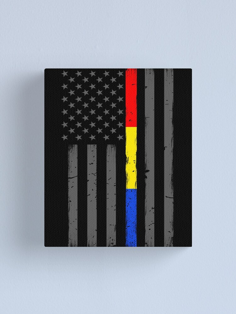 Thin Blue Line Decal USA Flag with Red Blue Gold Police Fire Dispatch Decal
