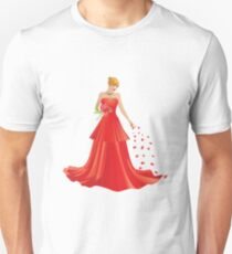 Blonde girl in Red dress T-Shirt