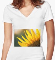 Sunflowers in a field in the afternoon. Women's Fitted V-Neck T-Shirt