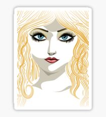 Blond girl with blue eyes Sticker