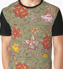 Ornament pattern seamless doodle flower with a happy flying elephant Graphic T-Shirt